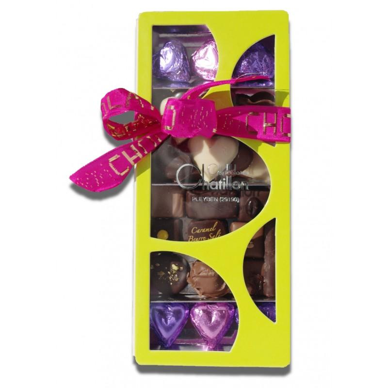 Boite compartiment chocolats jaune