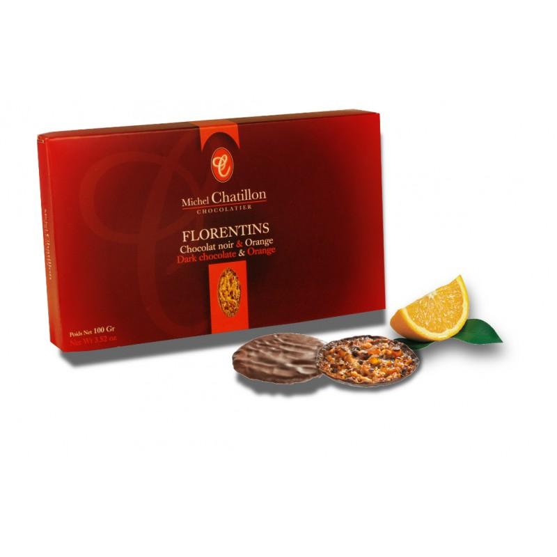 Florentins chocolat noir et orange étuis 100g