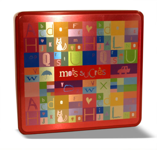 Boîte métal carré Mots sucrés